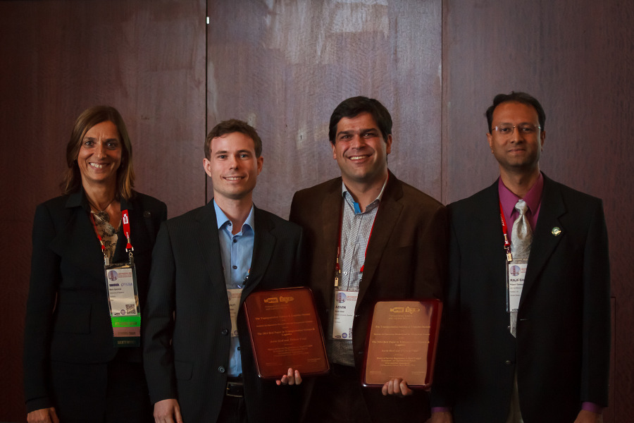 M. Grazia Speranza, Thibaut Vidal, Asvin Goel, and Rajesh Ganesan at the TSL Best Paper Award ceremony