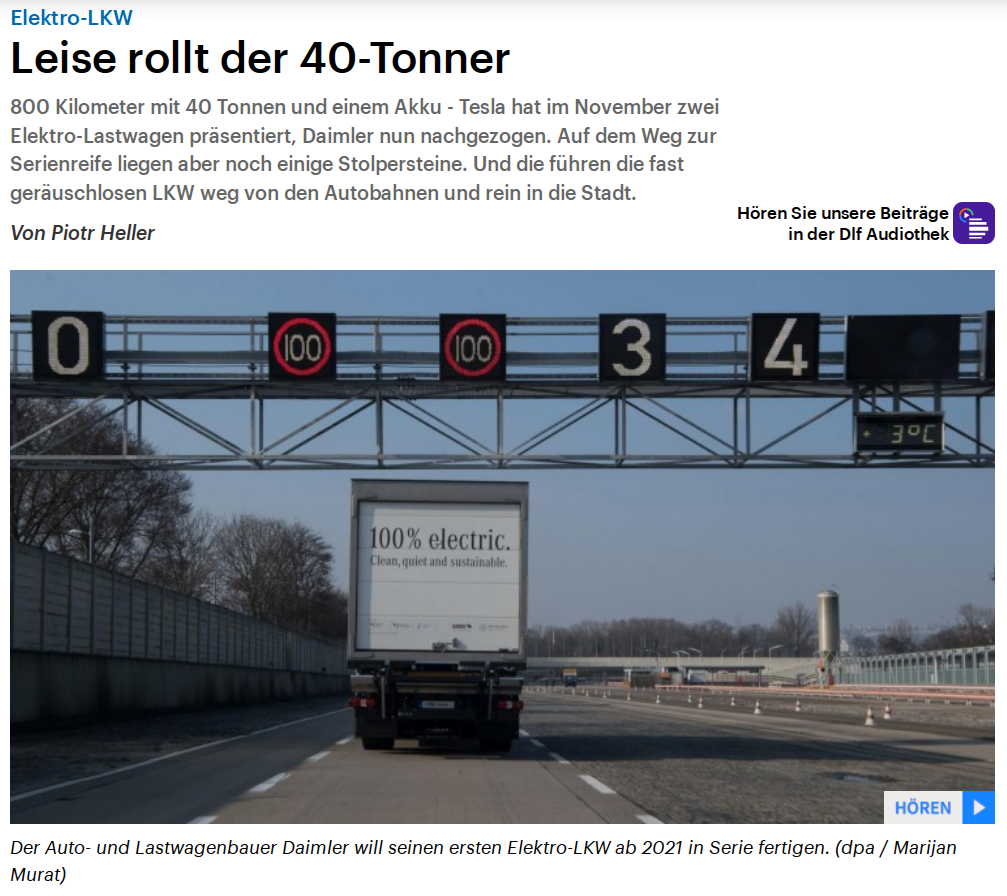 Radio interview in Deutschlandfunk: A production-ready 40-tonner with electric motor is not yet available. But would such an electric truck even make sense? This question goes to Asvin Goel, from the private Kühne Logistics University in Hamburg.