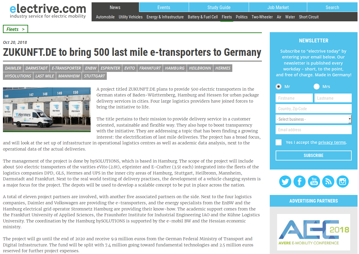 A project titled ZUKUNFT.DE plans to provide 500 electric transporters in the German states of Baden-Württemberg, Hamburg and Hessen for urban package delivery services in cities.