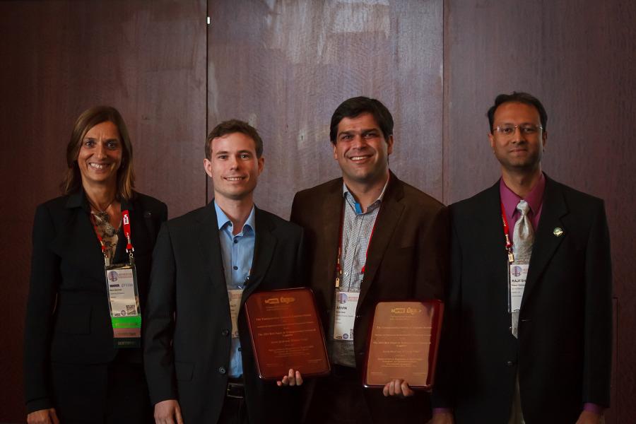 M. Grazia Speranza, Thibaut Vidal, Asvin Goel, and Rajesh Ganesan at the TSL Best Paper Award ceremony