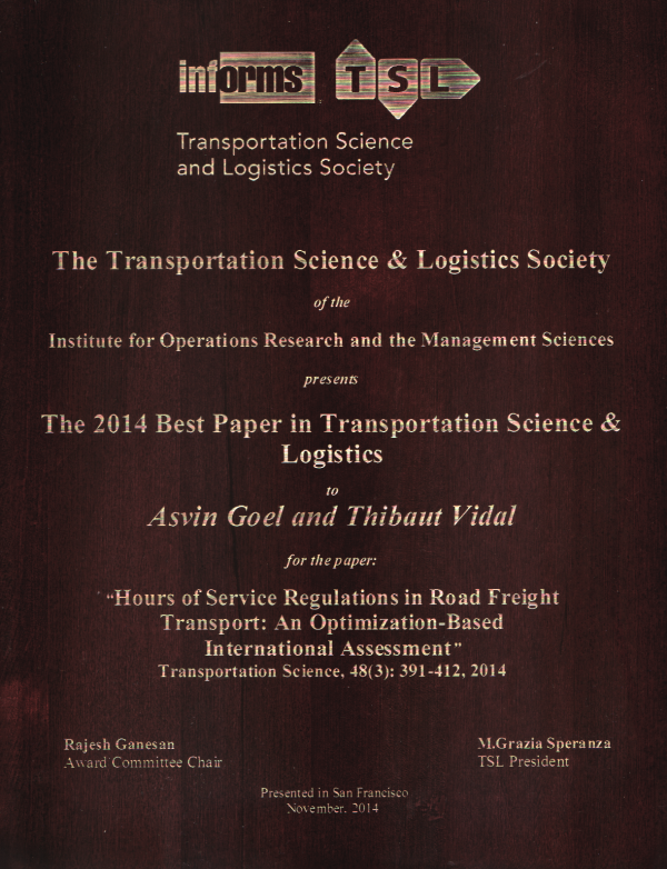 2014 INFORMS TSL Best Paper Award