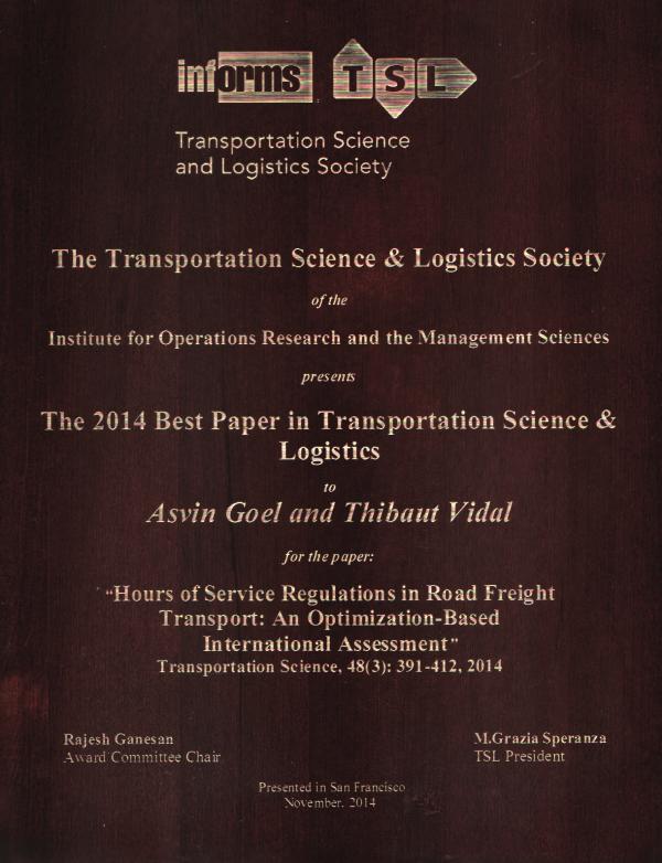 2014 INFORMS TSL Best Paper Award